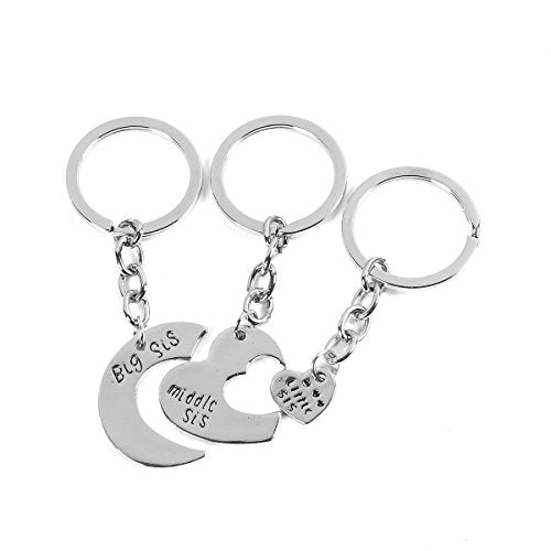 Sexy Sparkles Best Friends Keychain & Keyring Heart big middle little sister ( 3 PCs/Set)
