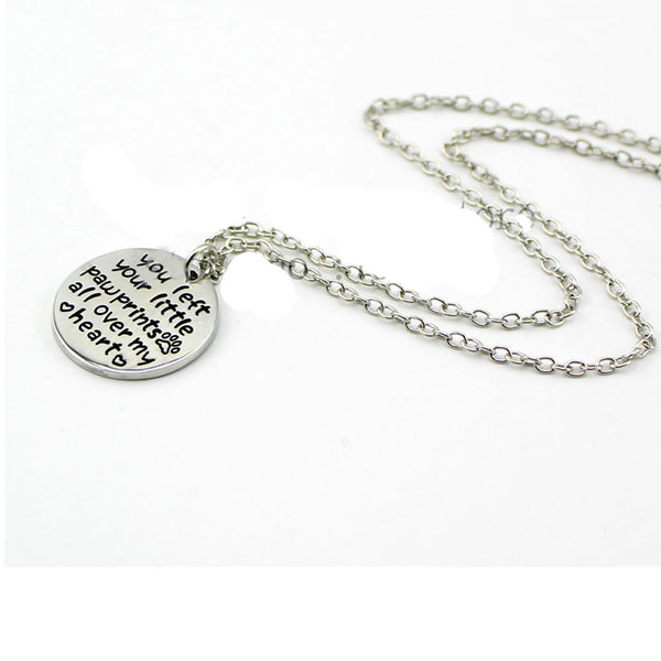 "Sexy Sparkles ""you left your little paw prints all over my heart "" Necklace pet Paw Print necklace Dog Cat Lover Gift Jewelry"