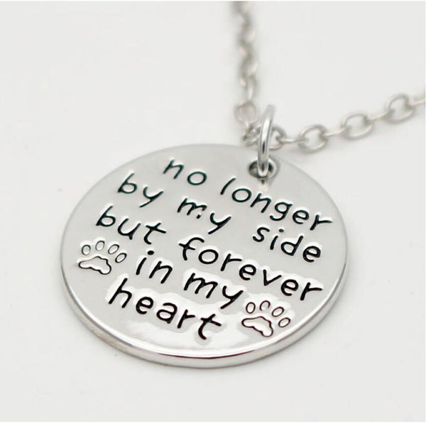 "Sexy Sparkles ""no longer by my side but forever in my heart""necklace Pet Lover Dog Paw Pendant Necklace"