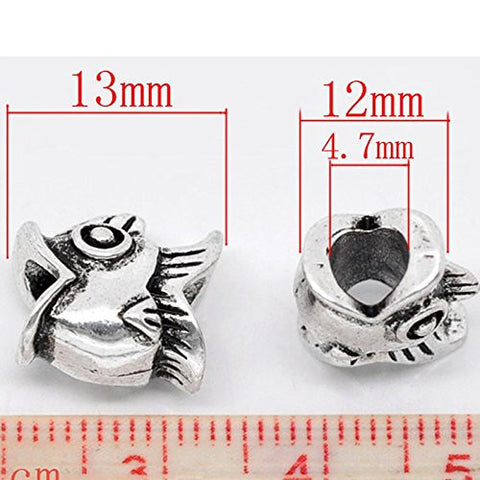 Fish Charm Spacer European Bead Compatible for Most European Snake Chain Bracelet - Sexy Sparkles Fashion Jewelry - 2