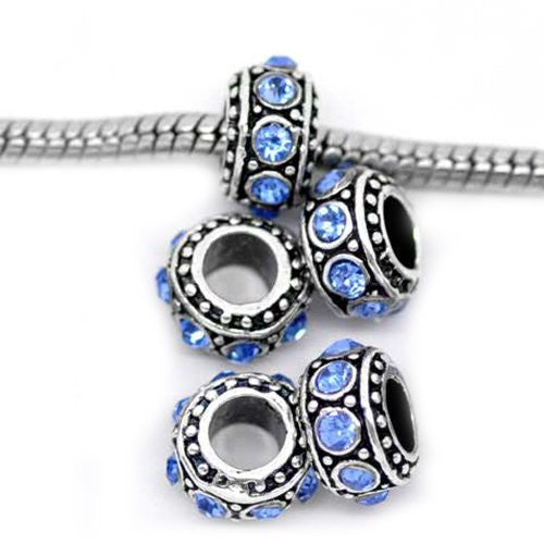 (5) September Birthstone s Sapphire Rhinestone Spacer Beads For Snake Chain Charm Bracelet