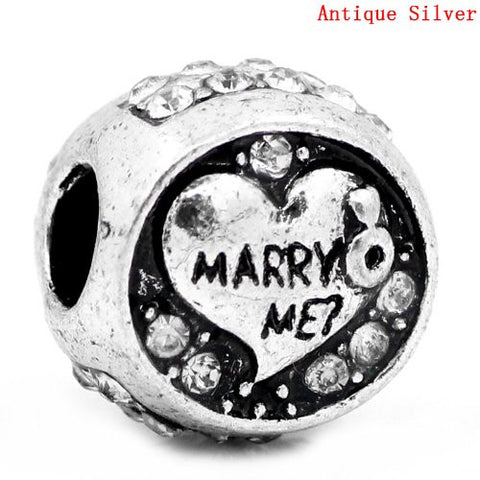 Marry Me? Charm European Bead Compatible for Most European Snake Chain Bracelet - Sexy Sparkles Fashion Jewelry - 3
