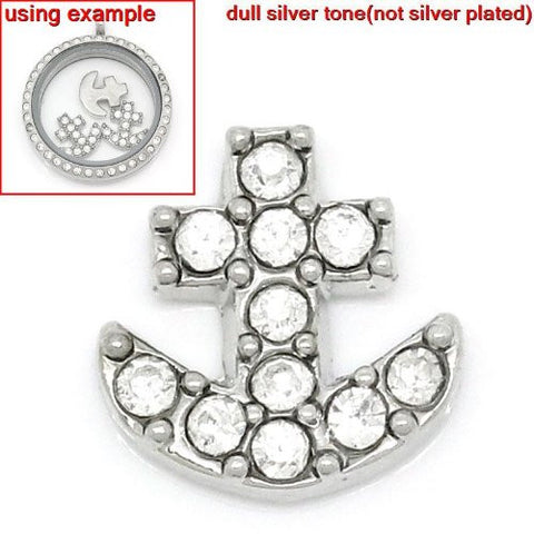 Anchor Floating Charm For Glass Living Memory Lockets - Sexy Sparkles Fashion Jewelry - 2