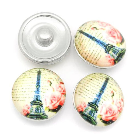 Vintage Eiffel Tower Design Glass Chunk Charm Button Fits Chunk Bracelet - Sexy Sparkles Fashion Jewelry - 3