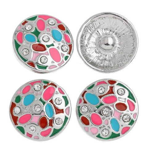Chunk Snap Buttons Fit Chunk Bracelet Round Silver Tone Enamel Multi Clear Rhinestone Pattern Carved 20mm - Sexy Sparkles Fashion Jewelry - 4