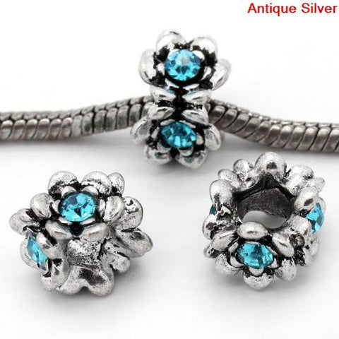 Flower With Blue Birthstone European Bead Compatible for Most European Snake Chain Bracelet - Sexy Sparkles Fashion Jewelry - 2