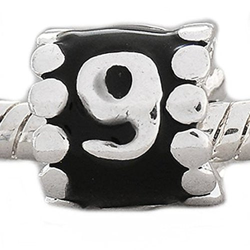 "Black Enamel Number Charm Bead  ""9"" European Bead Compatible for Most European Snake Chain Charm Bracelets - Sexy Sparkles Fashion Jewelry - 1"