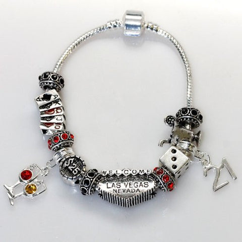 "8"" Viva Las Vegas Theme Charm with 12 Charms, Pocker Cards,Casino Chips,Dice,Martini Glass & Crystals charm beads, For Snake Chain Bracelets - Sexy Sparkles Fashion Jewelry - 2"