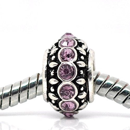 Amethyst Rhinestone  Charm Spacer Beads for Snake Chain Bracelets