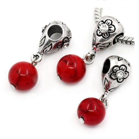 Red Dangle Ball with Rhinestones Bead Charm Spacer for Snake Chain Charm Bracelets - Sexy Sparkles Fashion Jewelry - 3