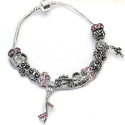 "Happy Birthday Snake Chain Charm Bracelet European Style (8.5"") - Sexy Sparkles Fashion Jewelry - 1"