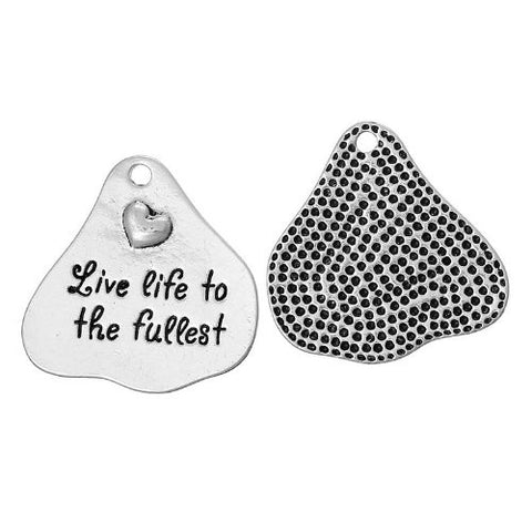 Live Life to the Fullest Heart Charm Pendant for Necklace - Sexy Sparkles Fashion Jewelry - 2