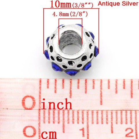 Royal Blue Rhinestone  Birthstone Charm European Bead Compatible for Most European Snake Chain Bracelets - Sexy Sparkles Fashion Jewelry - 3