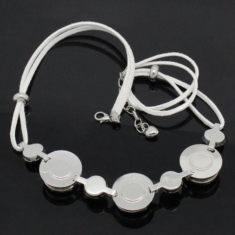 White Velvet Chunk Lobster Clasp Bracelet & Extender Chain Fits Snaps Chunk Button - Sexy Sparkles Fashion Jewelry - 3