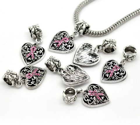 Silver Tone Bead Charm, Breast Cancer Awareness Dangle for Snake Chain Charm Bracelet - Sexy Sparkles Fashion Jewelry - 3