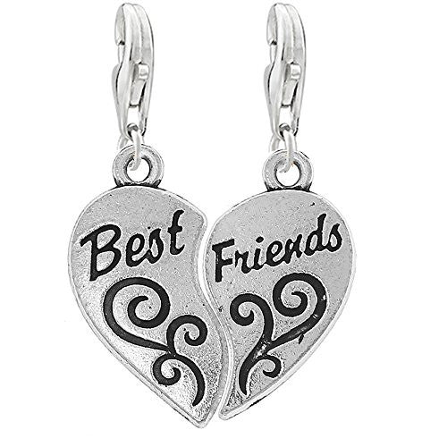 Two Piece Heart Best Friends Clip on Pendant Charm for Bracelet or Necklace