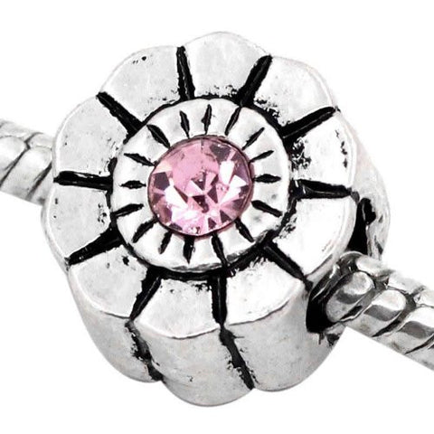 Flower W/pink  Rhinestone Charm European Bead Compatible for Most European Snake Chain Bracelet - Sexy Sparkles Fashion Jewelry - 2