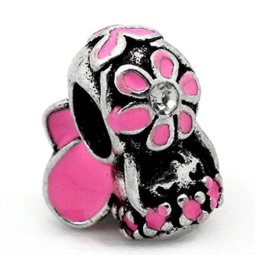 Pink Flower Fairy Charm European Bead Compatible for Most European Snake Chain Bracelet