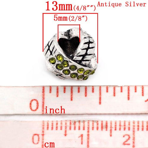 X Design W/august Peridot Light Green Birthstone  Crystals European Bead Compatible for Most European Snake Chain Charm Bracelet - Sexy Sparkles Fashion Jewelry - 4