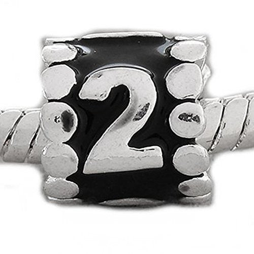 "Black Enamel Number Charm Bead  ""2"" European Bead Compatible for Most European Snake Chain Charm Bracelets"