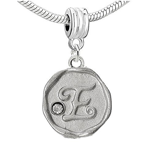 Alphabet Letter E Carved with Clear  Crystals Charm Dangle Bead Compatible with European Snake Chain Bracelets