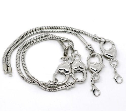 "9.0"" Heart Lobster Clasp Charm Bracelet Silver Tone for European Charms - Sexy Sparkles Fashion Jewelry - 3"