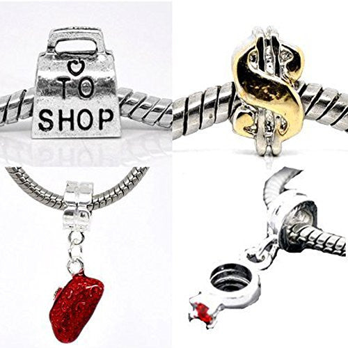 Set of Four (4) Charms Love to Shop Charm Beads For Snake Chain Bracelets