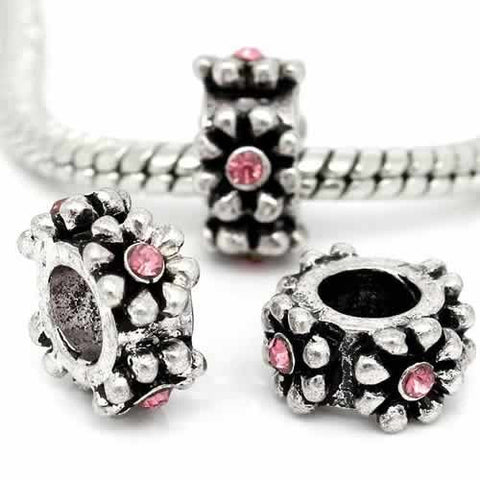 Pink Crystal Rhinestone Charm Bead For Snake Chain Bracelets - Sexy Sparkles Fashion Jewelry - 3