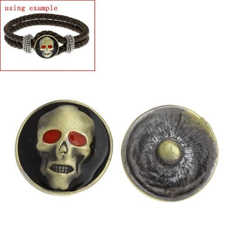 Chunk Snap Buttons Fit Chunk Bracelet Round Antique Bronze Enamel Red Halloween Skull Pattern - Sexy Sparkles Fashion Jewelry - 2