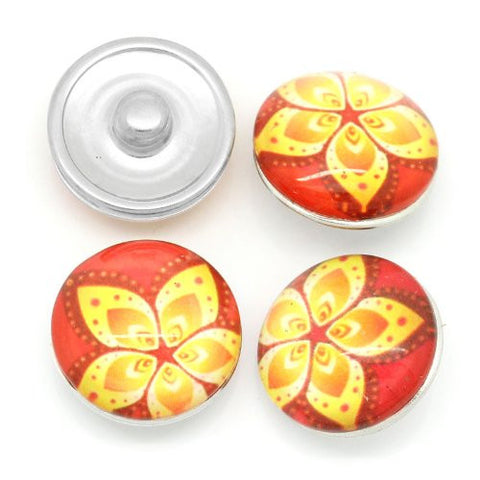 Red & Yellow Flower Design Glass Chunk Charm Button Fits Chunk Bracelet 18mm for Noosa Style Bracelet - Sexy Sparkles Fashion Jewelry - 3