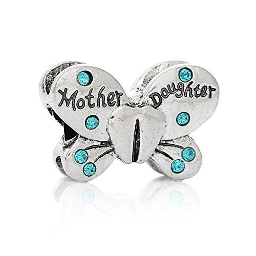 Mother Daughter Butterfly Charm European Bead Compatible for Most European Snake Chain Bracelets