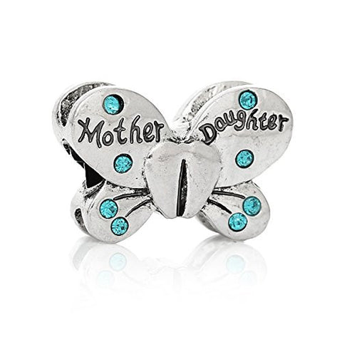 Mother Daughter Butterfly Charm European Bead Compatible for Most European Snake Chain Bracelets - Sexy Sparkles Fashion Jewelry - 1