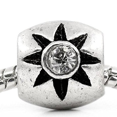 European Charm Beads Column Antique Silver Flower Carved Clear Rhinestone - Sexy Sparkles Fashion Jewelry - 1