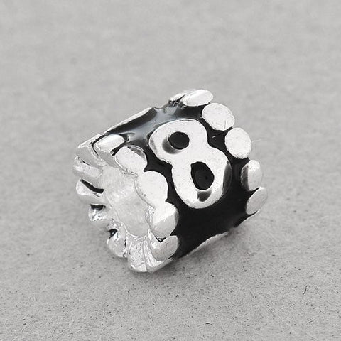"Black Enamel Number Charm Bead  ""8"" European Bead Compatible for Most European Snake Chain Charm Bracelets - Sexy Sparkles Fashion Jewelry - 2"