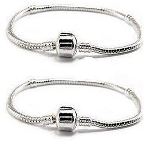 "Two Beautiful 8.5"" Snake Chain Classic Bead Barrel Clasp Bracelet for Beads Charms"