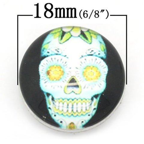 Skull Design Glass Chunk Charm Button Fits Chunk Bracelet 18mm for Noosa Style Chunk Leather Bracelet - Sexy Sparkles Fashion Jewelry - 2