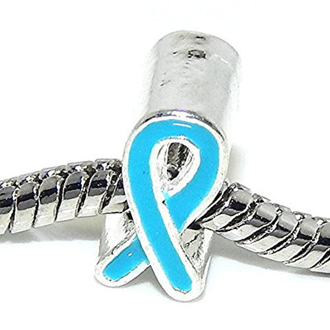 Blue Ribbon Awareness Charm Bead for European Snake Chain Charm Bracelet - Sexy Sparkles Fashion Jewelry - 1