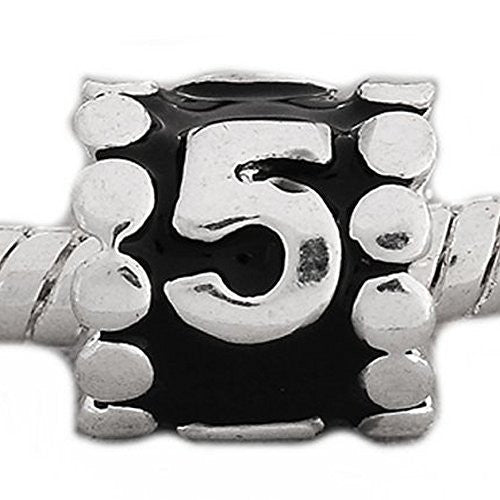 "Black Enamel Number Charm Bead  ""5"" European Bead Compatible for Most European Snake Chain Charm Bracelets - Sexy Sparkles Fashion Jewelry - 1"
