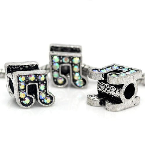 Rhinestone Music Note Charm Bead Spacer for Snake Charm Bracelets (Iridescent) - Sexy Sparkles Fashion Jewelry - 3
