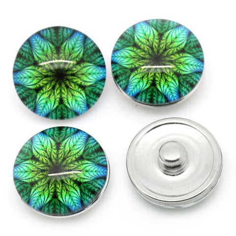 Flower Leaf Design Glass Button Fits Chunk Bracelet 18mm for Noosa Style Chunk Leather Bracelets - Sexy Sparkles Fashion Jewelry - 3