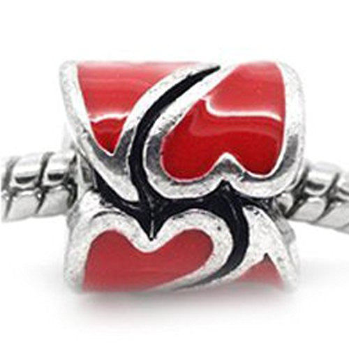 Heart Pattern Bead European Bead Compatible for Most European Snake Chain Braceletss (Red)