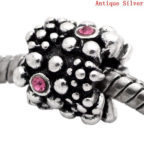 Pink October Birthstone  European Bead Compatible for Most European Snake Chain Charm Bracelet - Sexy Sparkles Fashion Jewelry - 3