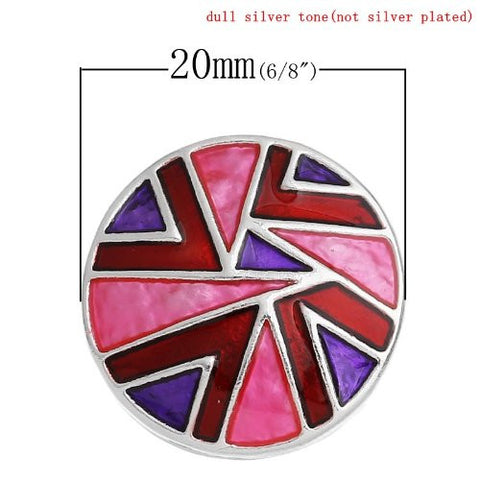 Chunk Snap Buttons Fit Chunk Bracelet Round Silver Tone Pattern Carved Enamel Red & Purple & Fuchsia 20mm - Sexy Sparkles Fashion Jewelry - 3