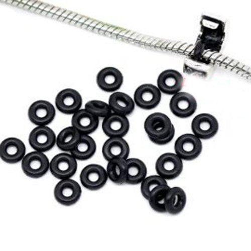 Ten (10) Black Silicone Rubber Stopper Spacers Charm or Clip Over Snake Chain Charm Bracelet - Sexy Sparkles Fashion Jewelry - 1