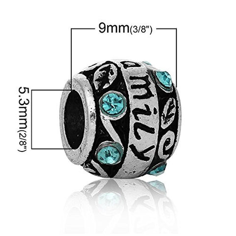 """Family""Carved Barrel Charm Bead w/ Blue Crystals - Sexy Sparkles Fashion Jewelry - 2"