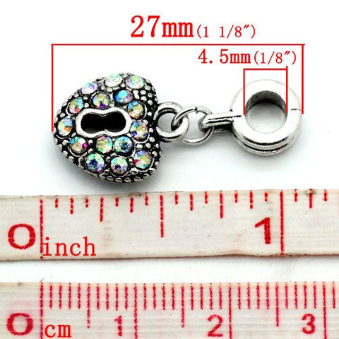 AB Crystals Heart Lock Dangle Charm Bead For Snake Chain Bracelets - Sexy Sparkles Fashion Jewelry - 3