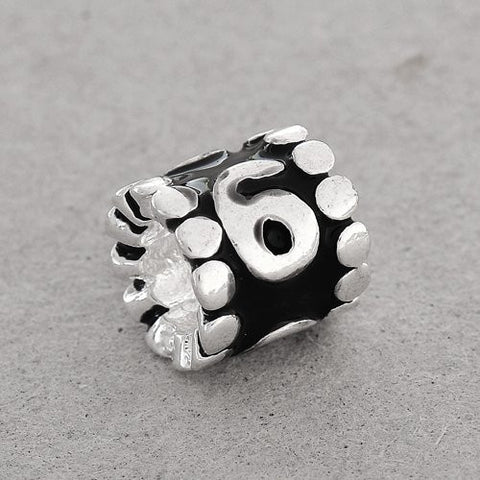 "Black Enamel Number Charm Bead  ""6"" European Bead Compatible for Most European Snake Chain Charm Bracelets - Sexy Sparkles Fashion Jewelry - 2"