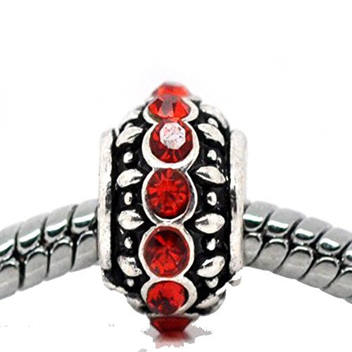 Birthstone Red July Charm European Bead Compatible for Most European Snake Chain Bracelet