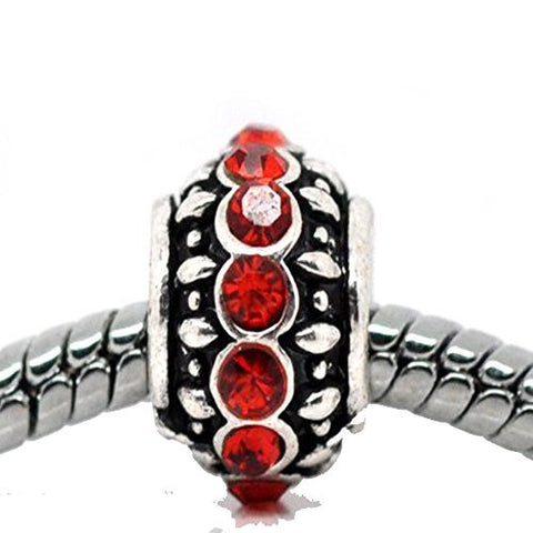Birthstone Red July Charm European Bead Compatible for Most European Snake Chain Bracelet - Sexy Sparkles Fashion Jewelry - 1