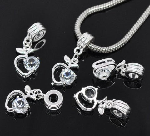 Clear Rhinestone Apple Heart Dangle Bead Compatible for Most European Snake Chain Braceletfor Snake Chain Bracelet - Sexy Sparkles Fashion Jewelry - 3